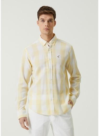 Beymen Club Beymen Club Comfort Fit  Polo Yaka Ekose Desenli Gömlek 101590292 Sarı